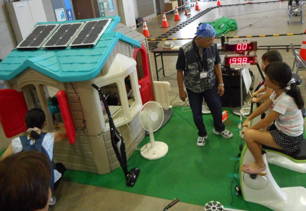 人力発電機で大型バッテリーへ30秒ほど充電し、蓄電された電力で小型スマハの中に設置してある電化製品を動かします。蓄電量、使用電力がモニターに表示されるので節電の啓蒙活動に最適です。(屋根に付いている太陽光発電や燃料電池も接続できます。) また、人力発電ゴーカートを接続して「VtoH」体験装置など様々なイベント企画に対応可能です。