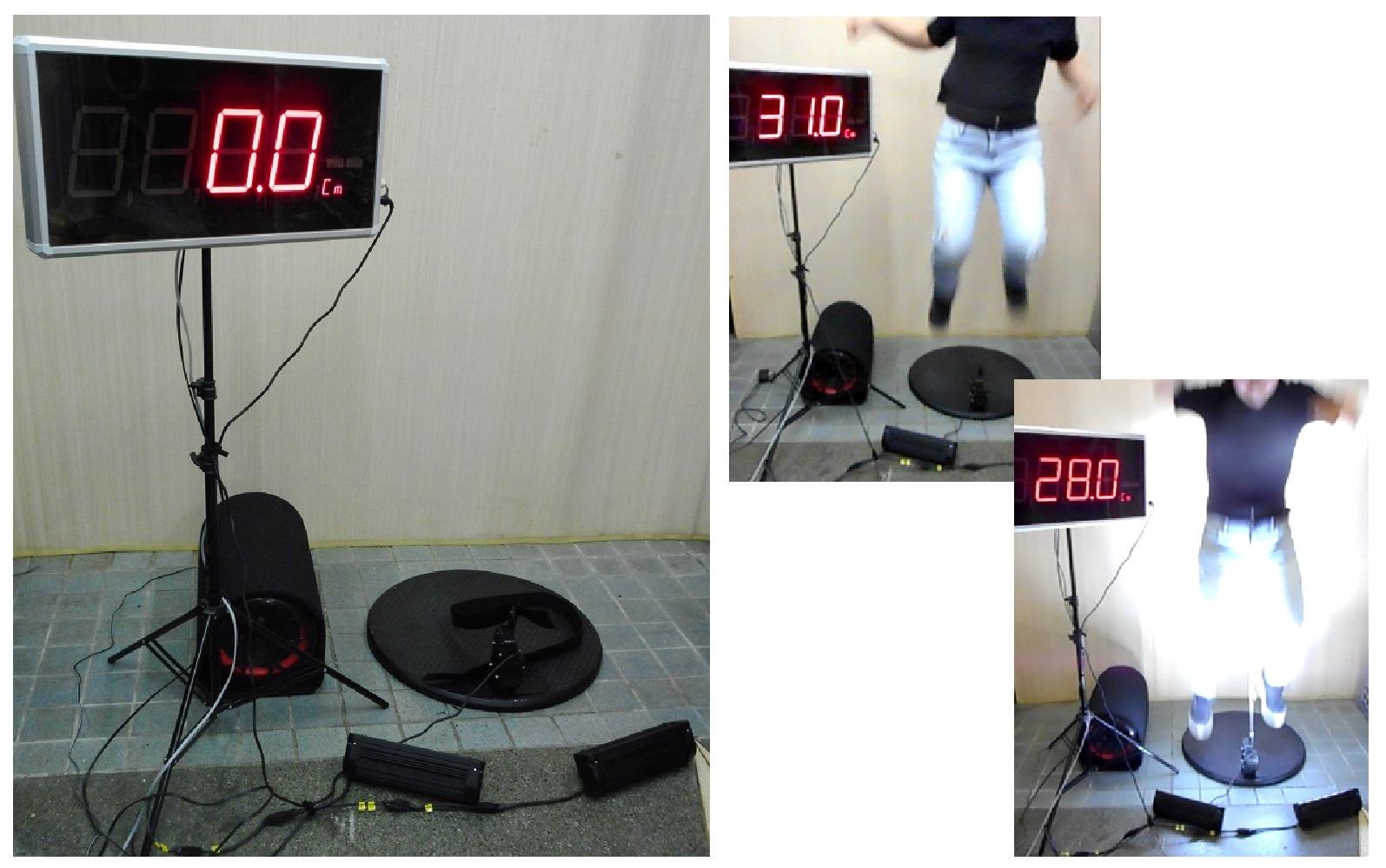 ジャンプした高さを大型表示モニターに表示します。 バレーボールやバスケットボールのイベントアトラクションに最適です。 単純に垂直跳びの高さを測定する機能だけでなく、音楽や光に合わせてジャンプしないと測定できないユニークな機能もついています。 レンタル在庫:2台