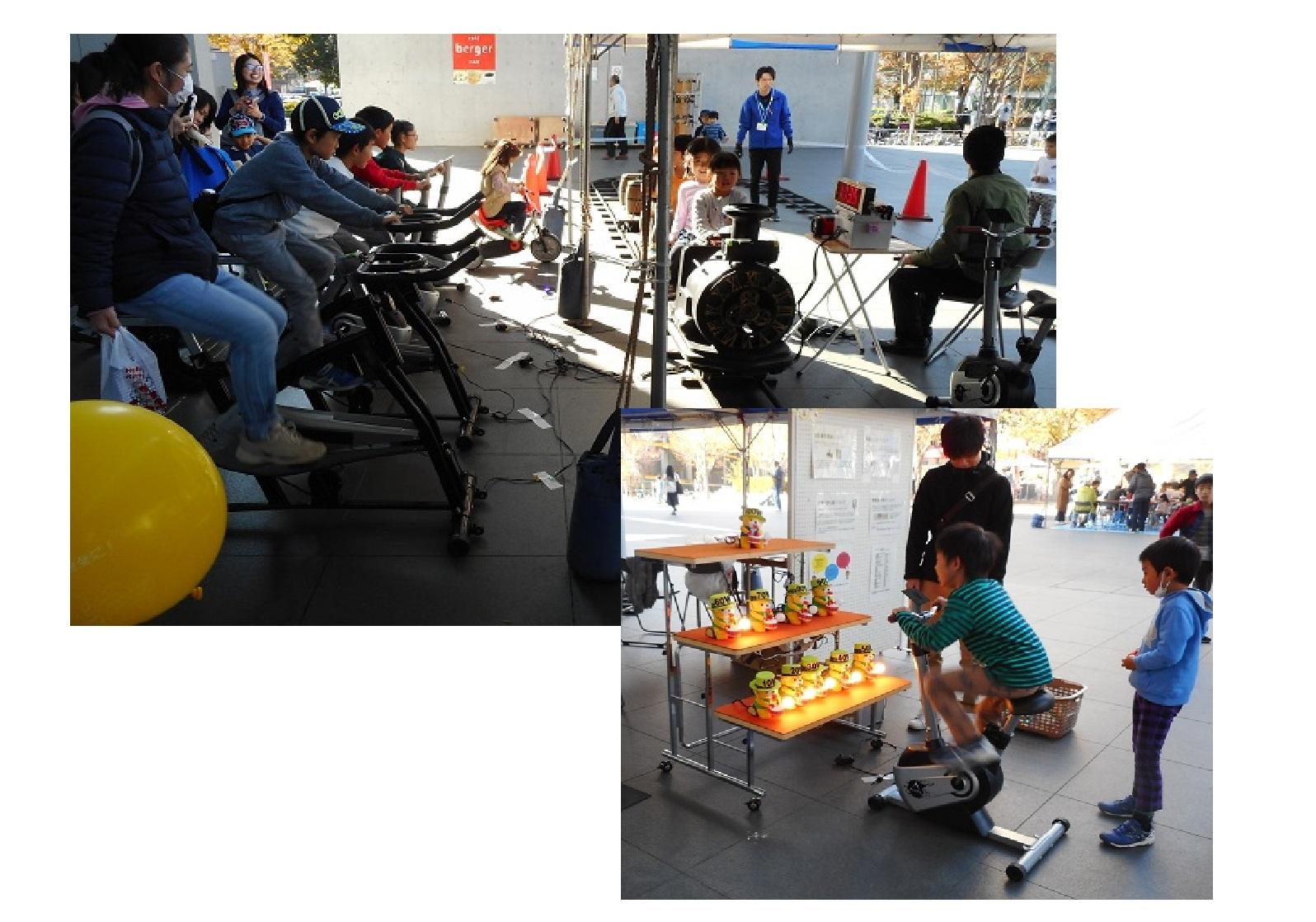 自転車発電 ミニSL 人力発電力測定装置(茨城県環境イベント)
