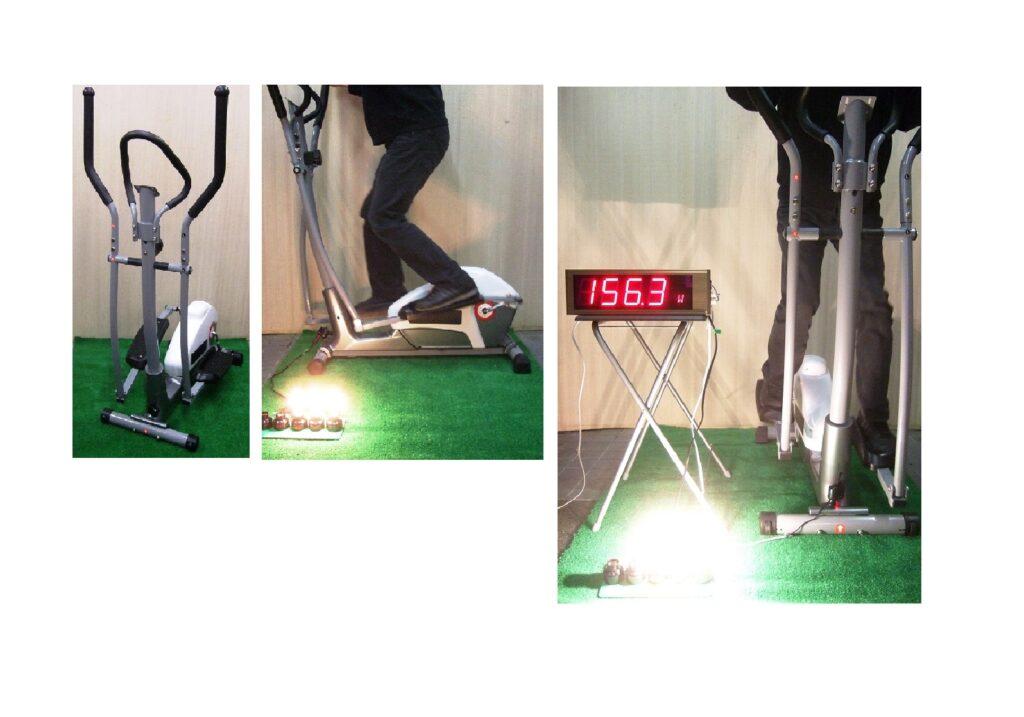 スキーの「クロスカントリー」を模した動きで発電できる装置です。(レンタル在庫4台)