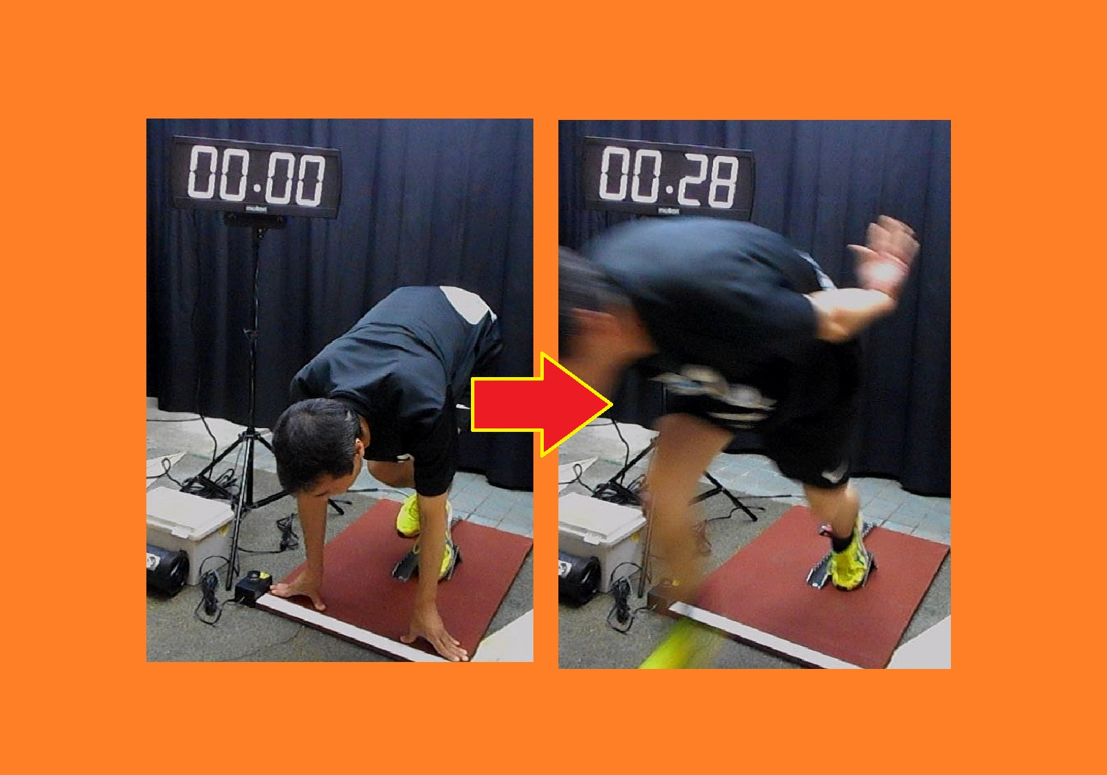 0m走(ウサイン ボルト選手に挑戦、陸上競技 スタート 反射神経 測定装置)